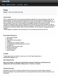 LinkedIn ofrece una curiosa oferta de empleo: selección del nuevo Papa.